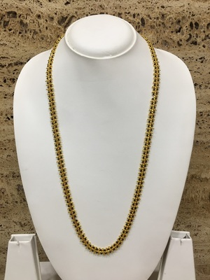 Gold Plated Mangalsutra Necklace 26-Inch Length Chain Traditional Black & Gold Beads S