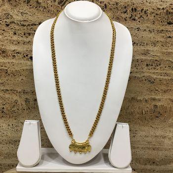 28-Inch Length Chain Golden 5 Laxmi Coin Vati Tanmaniya Pendant Traditional Black & Gold Beads