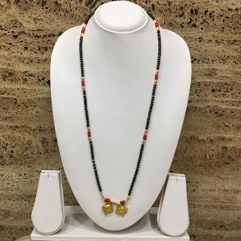 26-Inch Length Chain Golden Vati Tanmaniya Pendant Traditional Black & Orange Coral Beads