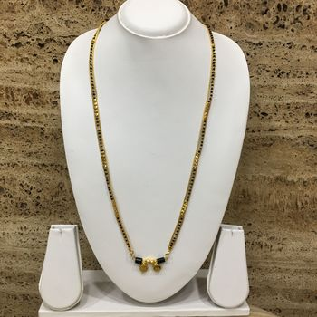 36-Inch Length Chain Golden 2 Laxmi Coin Vati Tanmaniya Pendant Traditional Black & Gold Beads