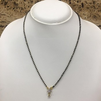 Gold Plated Mangalsutra Necklace 18-Inch Length Gold & Silver American Diamond Solitaire Star Pendant