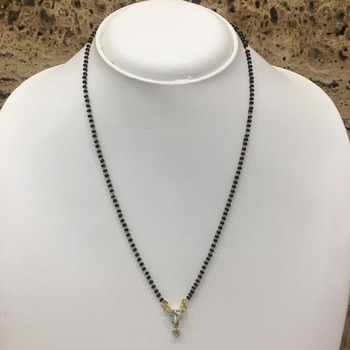 Gold Plated Mangalsutra Necklace 18-Inch Length Gold & Silver American Diamond Solitaire Triangle Pendant