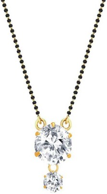 Gold Plated Mangalsutra Necklace 18-Inch Length Gold & Silver American Diamond Solitaire Round Pendant