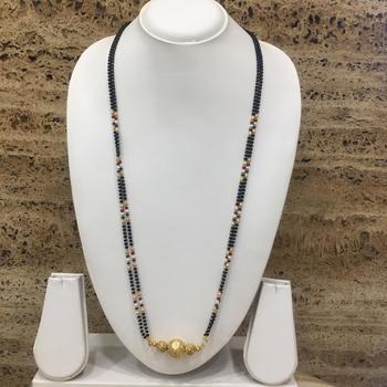 Mangalsutra 28-inch Length Gold Plated Tanmaniya kanthi Pendant Black Gold Mani Beads Long Chain Mangalsutra