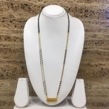 30-Inch Length Gold Plated 5 Lakshmi Coin Pendant With Earrings Black & Gold Mani (Beads) Long Chain