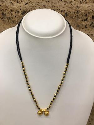 Mangalsutra 20-Inch Length Gold Plated Vati Tanmaniya Pendent Black Gold Mani (Beads)Traditional Ethnic