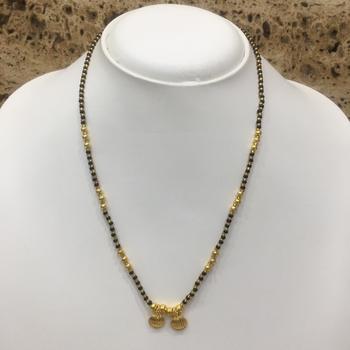 Mangalsutra 18-inch Length Gold Plated Vati Tanmaniya Pendent Black Gold Mani (Beads)Traditional Maharashtrian
