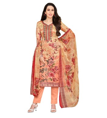 7ae59f1a60 Peach Satin Cotton Printed & Embroidered Unstitched Salwar Suit - Mf Next  Com - 2860041