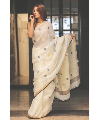 White Handwoven Linen Saree with Golden Border