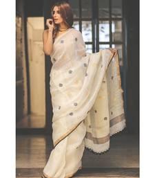 White Handwoven Linen Saree with Golden Border