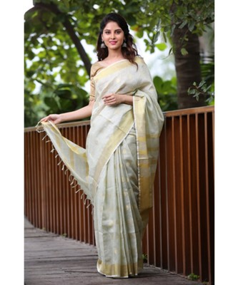 Faded Green Shade Handwoven Linen Saree with Gold Tone Design
