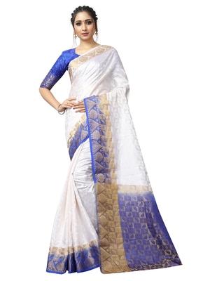 White woven nylon saree with blouse