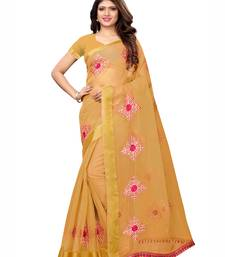 Yellow embroidered organza saree with blouse