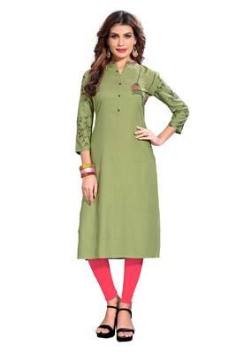 Light-green printed rayon kurti