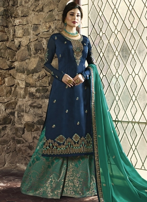 Royal-blue embroidered georgette salwar with dupatta
