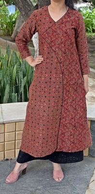 Multicolor printed chanderi cotton kurta