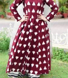 Maroon hand woven cotton kurta