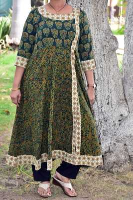 Green printed cotton kurta