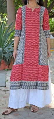 Red hand woven cotton kurta