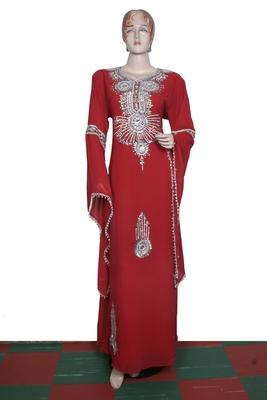Dark red embroidered georgette islamic kaftan