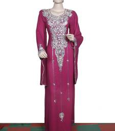 Dark pink embroidered georgette islamic kaftan