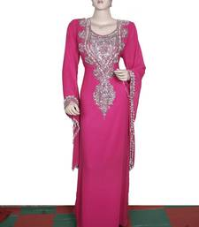 Dark hot pink embroidered georgette islamic kaftan