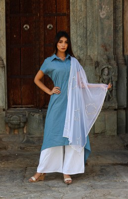 Royal blue kurta with pants and dupatta