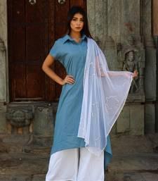 Royal blue kurta with pants and dupatta
