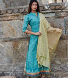 Pista green Floor length Kurta with gold Dupatta