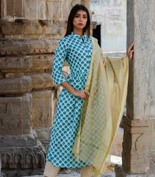 Sky blue printed kurta with pants and gold dupatta