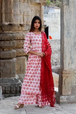 Block print pink kurta pajama set