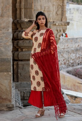 Peach block print kurta with palazzo and dupatta