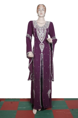Dark wine embroidered georgette islamic kaftan
