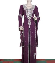 Dark wine embroidered georgette islamic kaftan