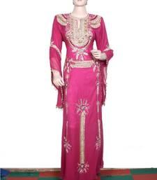 Hot pink embroidered georgette islamic kaftan