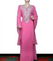 Light pink embroidered georgette islamic kaftan