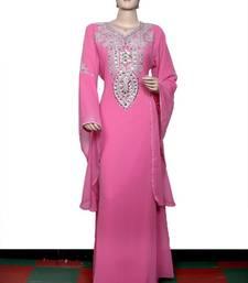 Light pink embroidered georgette islamic kaftan