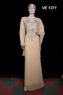 Beige embroidered georgette islamic kaftan