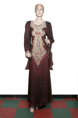 Brown embroidered georgette islamic kaftan