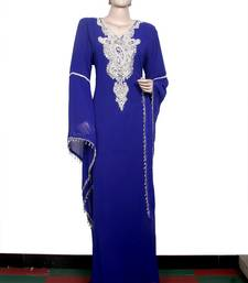 Dark blue embroidered georgette islamic kaftan