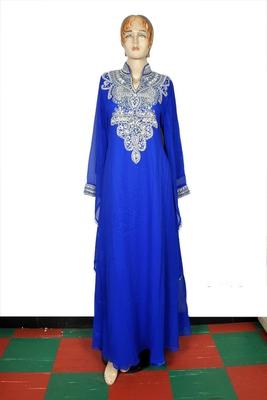 Royal blue embroidered georgette islamic kaftan