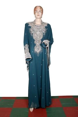 Teal green embroidered georgette islamic kaftan