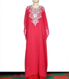 Rose embroidered georgette islamic kaftan