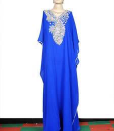 Dark sky blue embroidered georgette islamic kaftan
