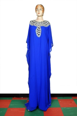 Blue embroidered georgette islamic kaftan