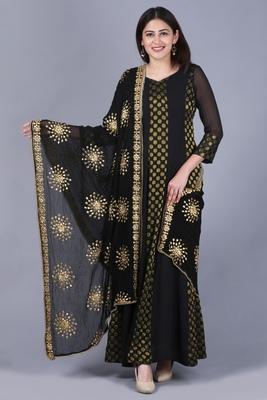 Black Gold Georgette Banarsi Floor Length Kurti with Black Gotta Embroidered Chiffon Dupatta