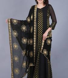 Black Gold Georgette Banarsi Floor Length Kurti with Black Gotta Embroidered Chiffon Dupatta