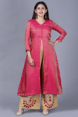 Pink Brocade Jacket Style Kurti with Gold Gotta Flared Palazzo