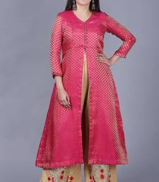 Pink Brocade Jacket Style Kurti with Gold Gotta Flared Palazzo