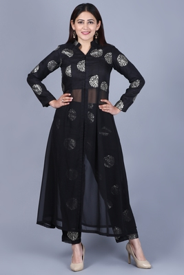 Black Jewel Jacket Style Kurti with Straight Pants